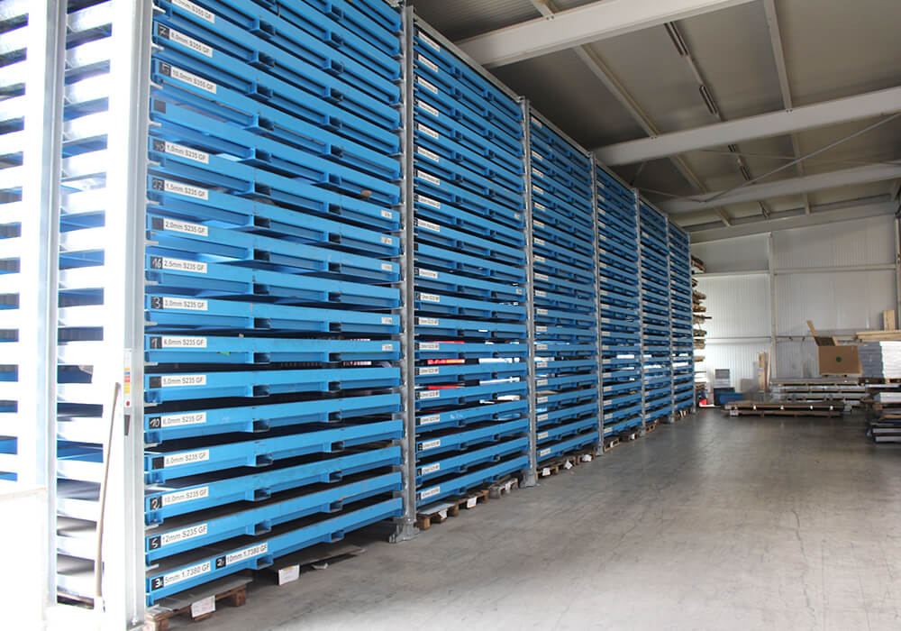 Sheet metal storage system installed as a row