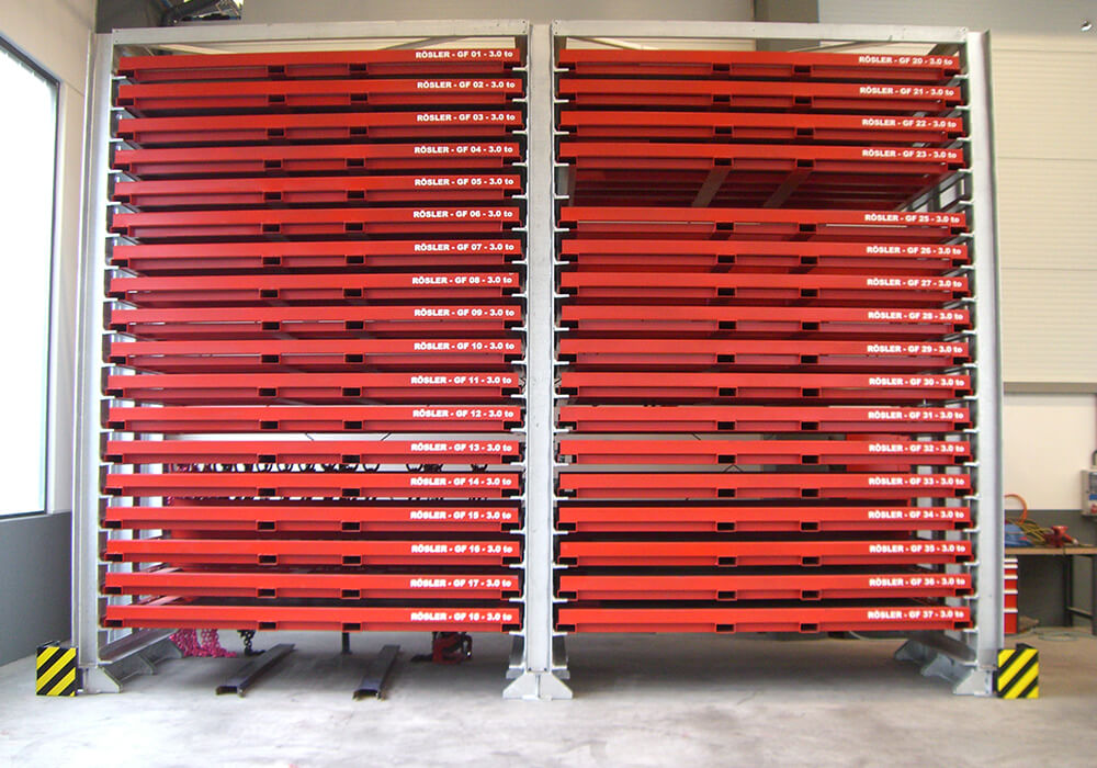 Custom storage system with steel cassettes in special colour red