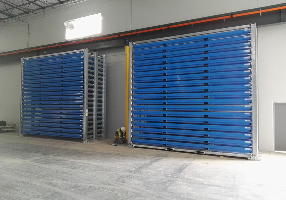 Storage of metal sheets and sheet metal plates in 6x2m format