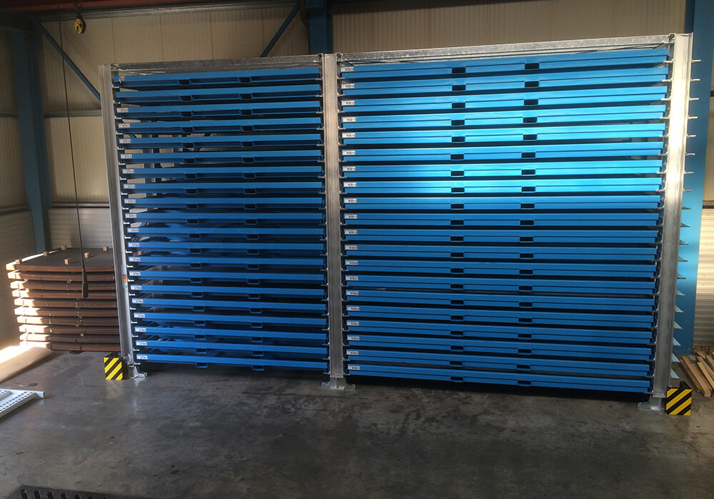 Rack system for sheet metal plates as double tower