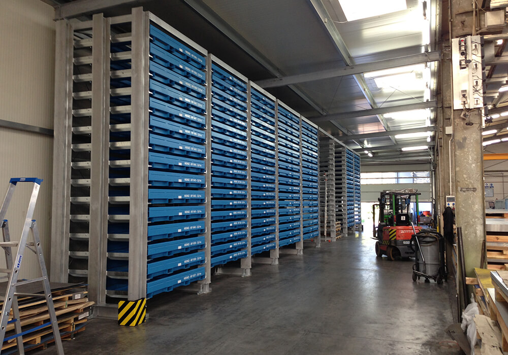 Rack row of cassette rack as sheet metal storage system