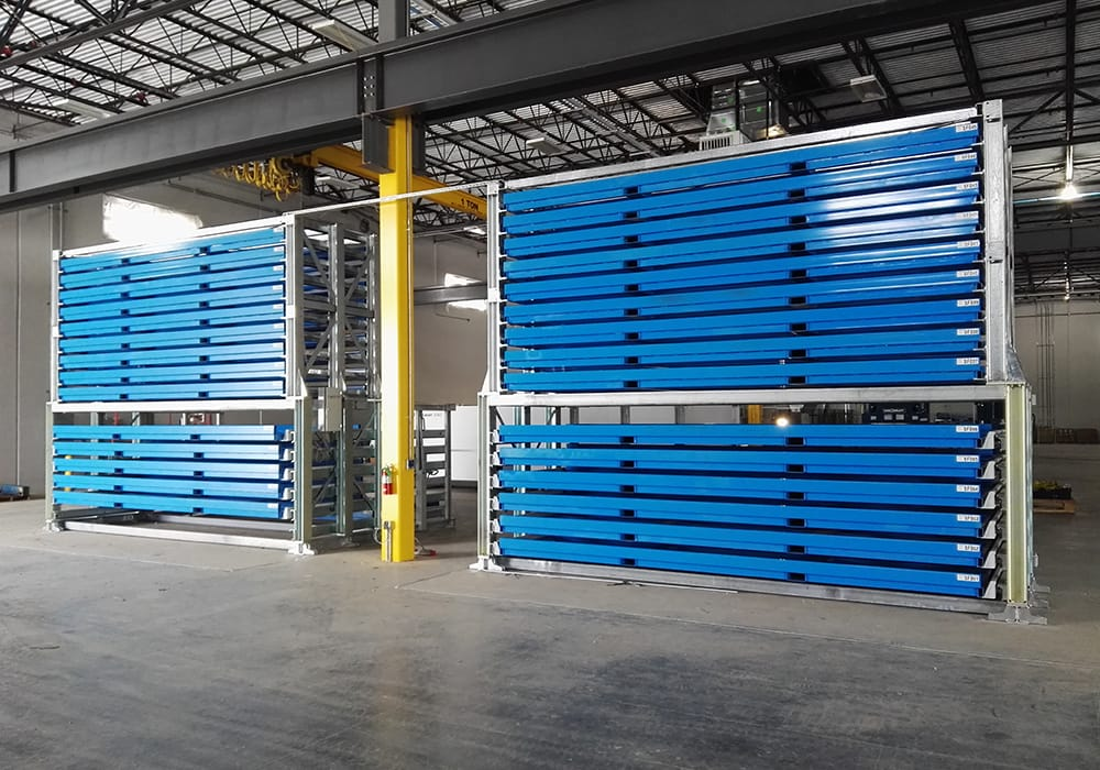 Sheet metal storage system with cassettes and drawers in 6,000x2,000mm format, storage system