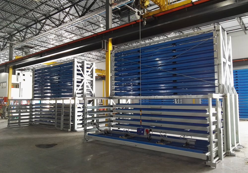 Super format and Maxi format plates are stored in metal sheet rack drawers