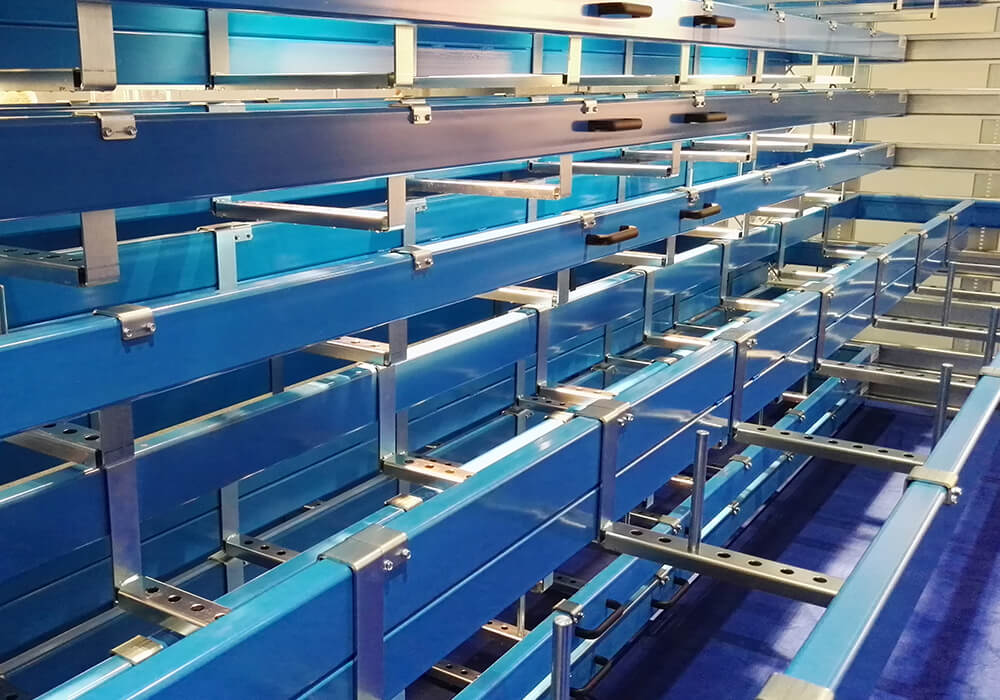 Long goods rack, storage system in drawers for pipes, profiles, bars and rods