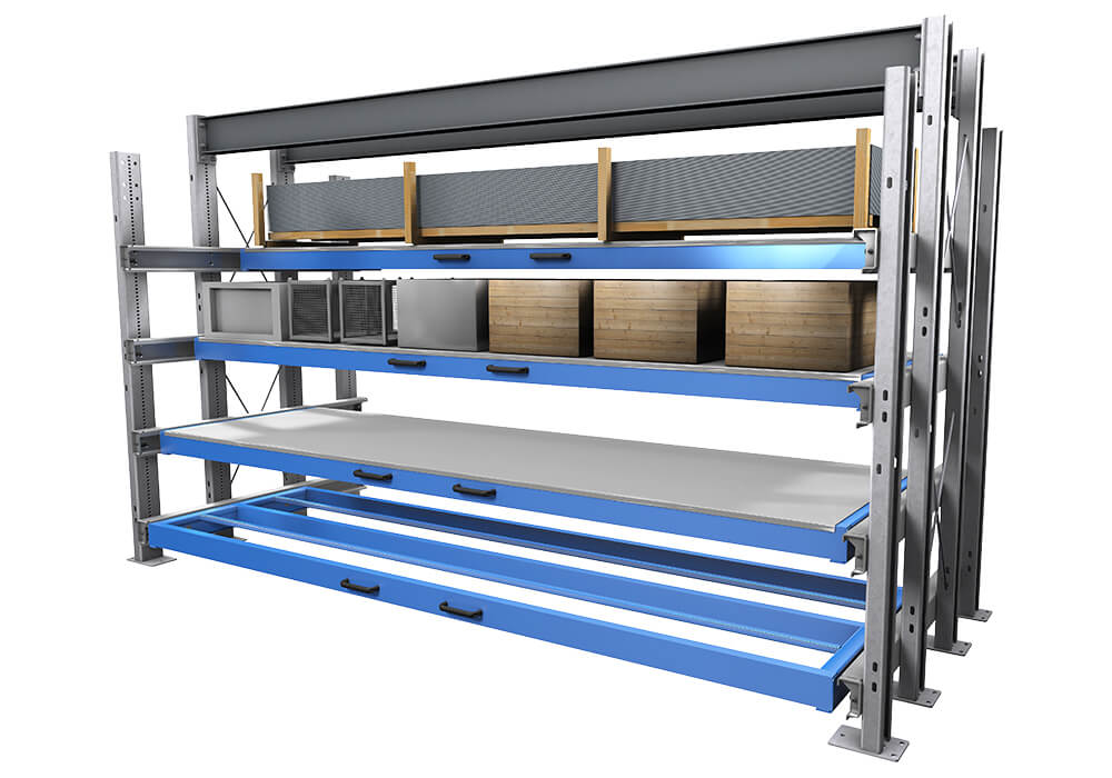 Storage of long goods in rack storage system for long goods