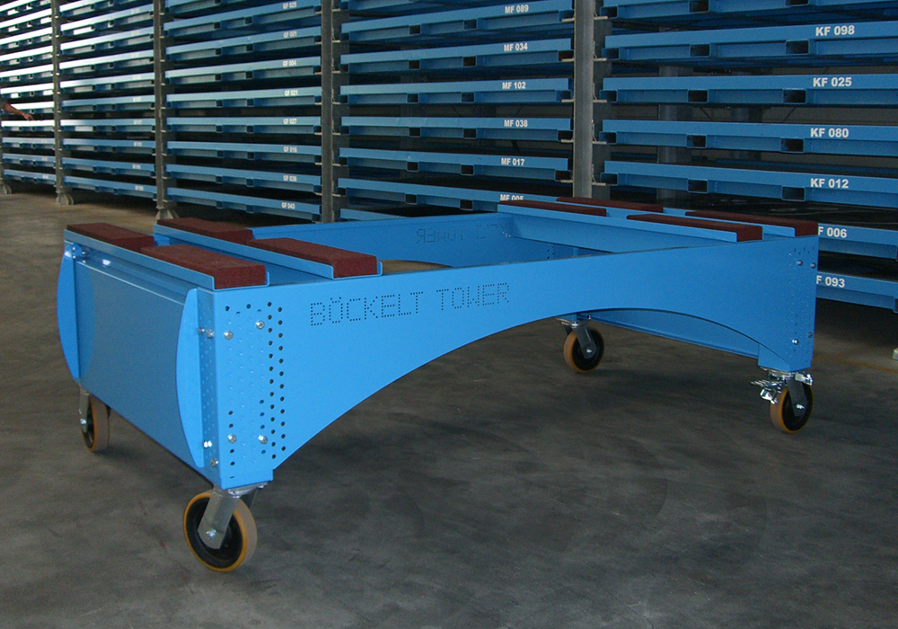 Trolley, table for transporting metal sheet packages, metal sheet stacks and sheet metal plates