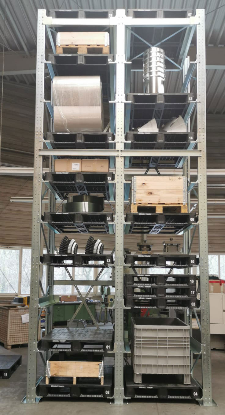 Heavy duty rack with a loading height for flexible use as a significant optimisation over pallet racks or cantilever arm rack systems
